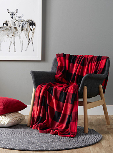 Plush buffalo check throw <br>130 x 180 cm