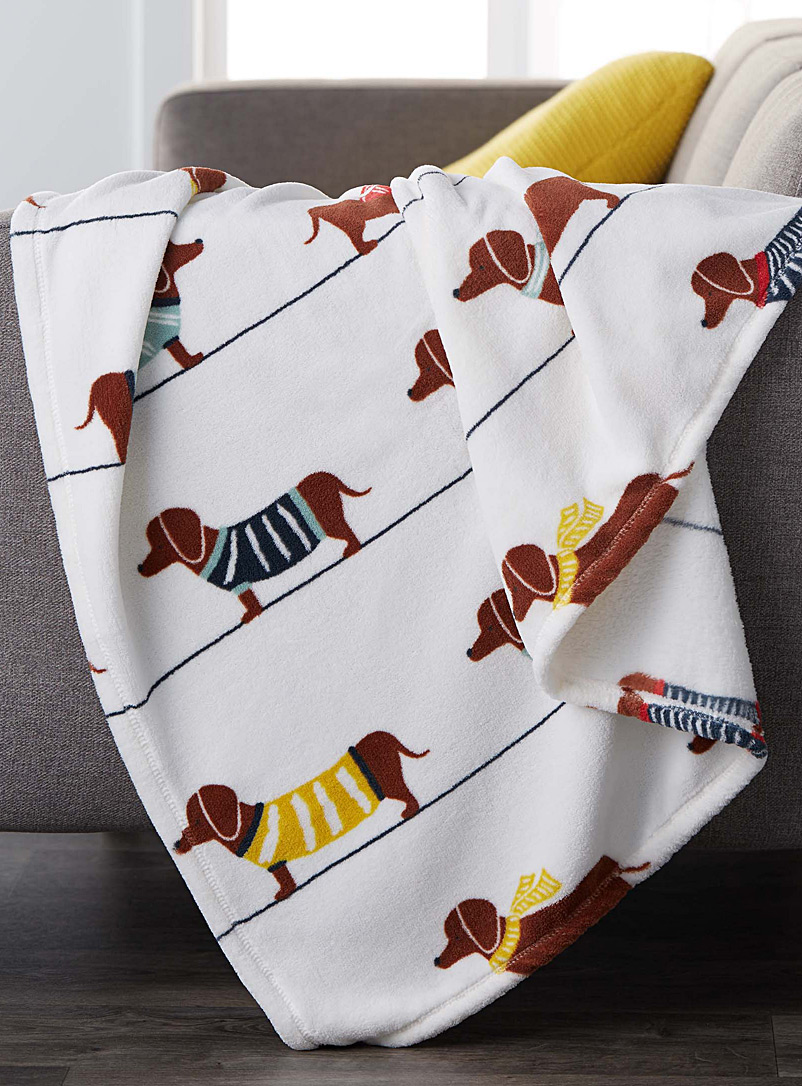 Chic dachshund dog throw  130 x 180 cm - Solid & Printed polar fleece - Assorted