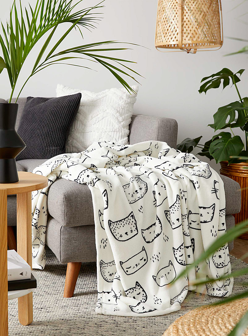 Purring kittens throw  130 x 180 cm - Solid & Printed polar fleece - White