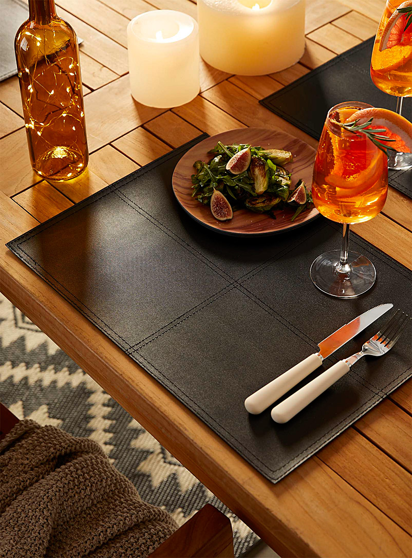 Simons Maison Black Faux piqué leather placemat