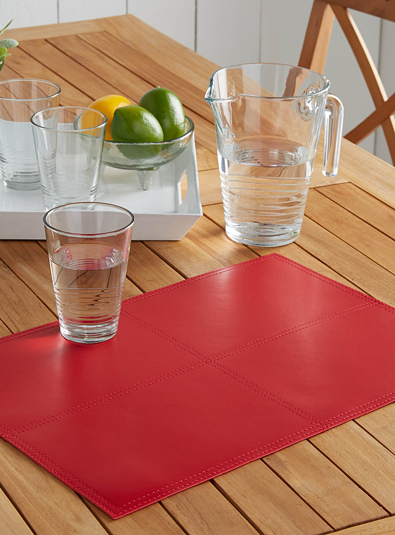 Simons Maison Red Faux piqué leather placemat