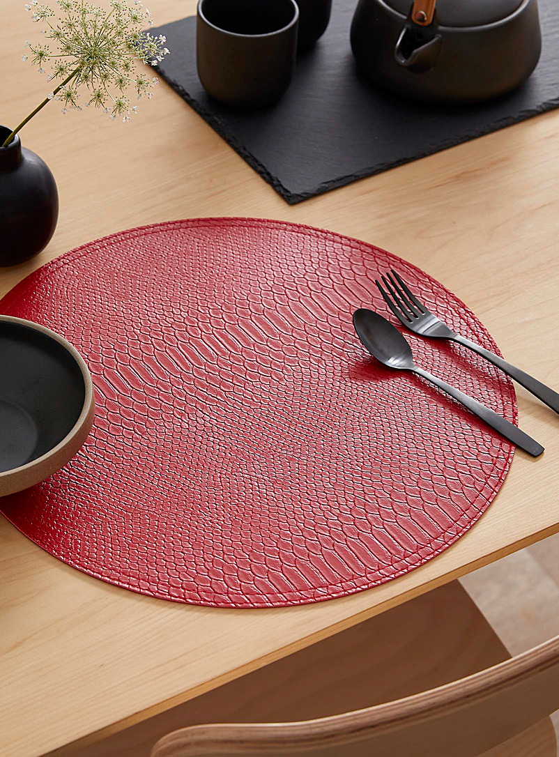 Simons Maison Red Croc-like reversible placemat
