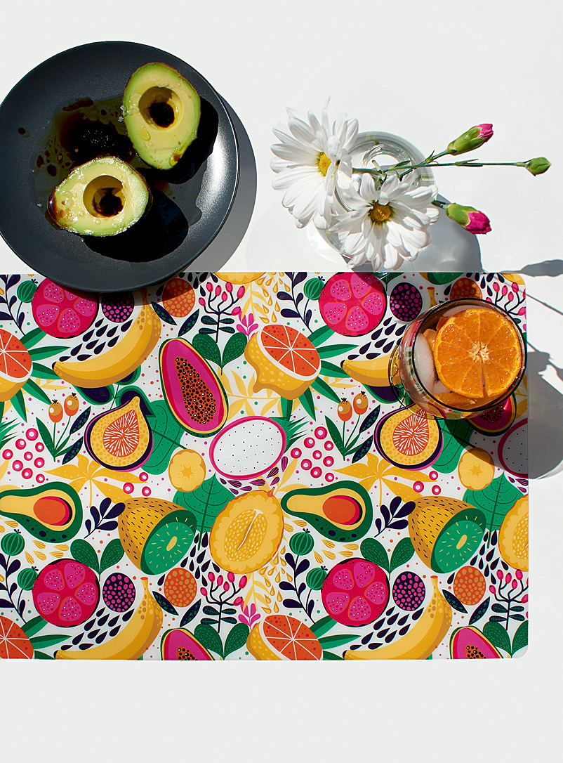 Simons Maison Assorted Tropical cocktail vinyl placemat