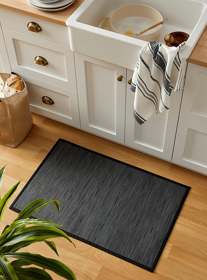 Pvc braided rug  60x90 cm - Neutral Basics - Black