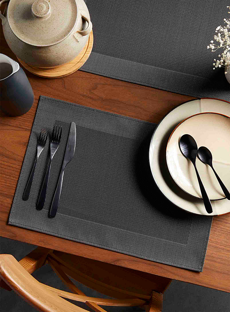 Basketweave woven  vinyl place mat - Vinyl - Grey
