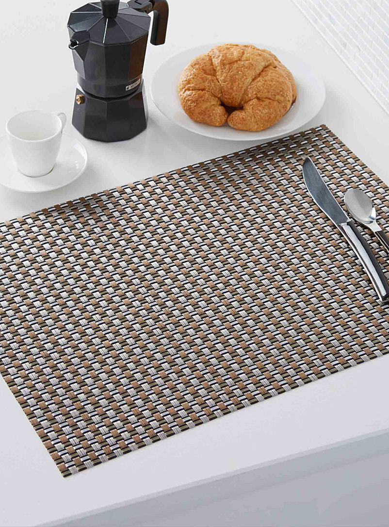 Metallic braided vinyl place mat - Vinyl - Black