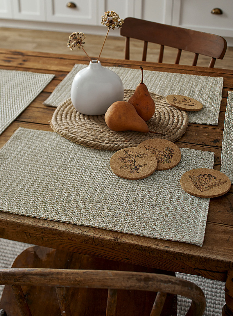 Basketweave vinyl placemat - Vinyl - Cream Beige