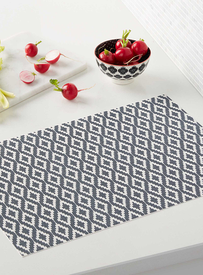 Ikat diamond stripe braided vinyl place mat - Vinyl - Marine Blue