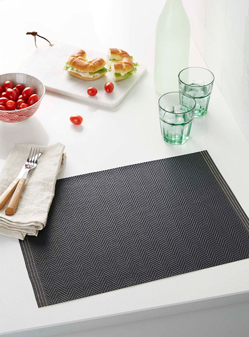Simons Maison Black Braided chevron vinyl placemat