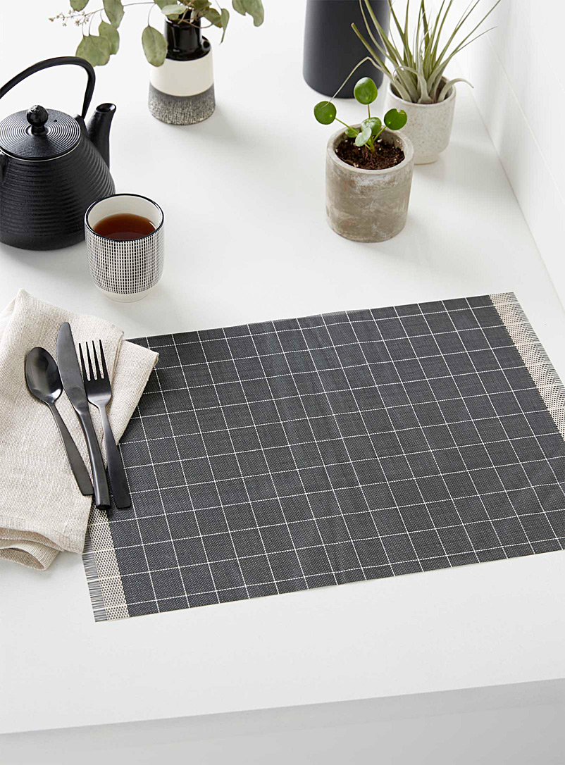 Sheer check braided vinyl placemat - Vinyl - Black and White