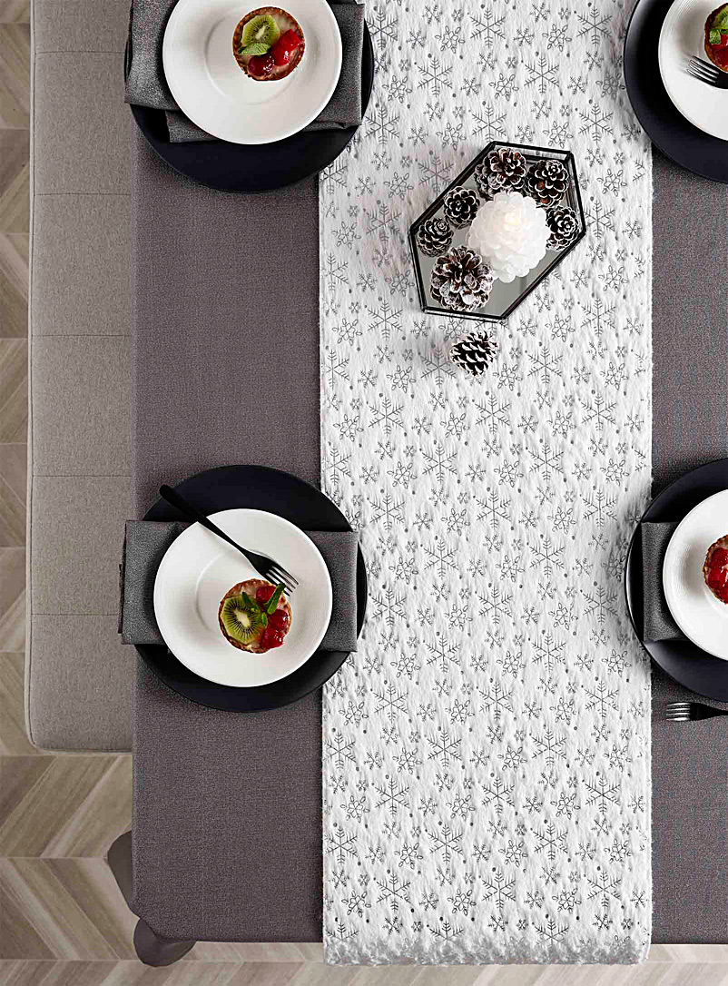 Snowy path table runner  35 x 180 cm - Centerpieces & Table Runners - Patterned White