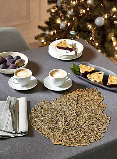 Golden leaf vinyl placemat
