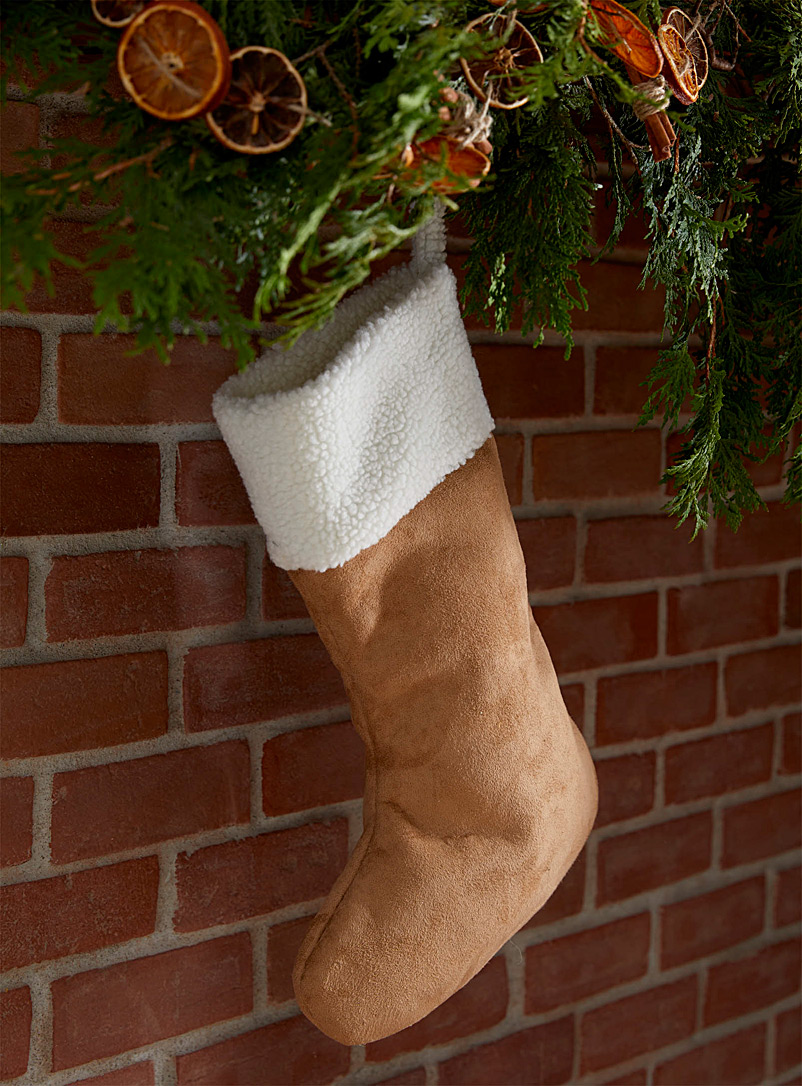 Sherpa trim Christmas stocking - Stylish Objects & Decor Accents - Light Brown