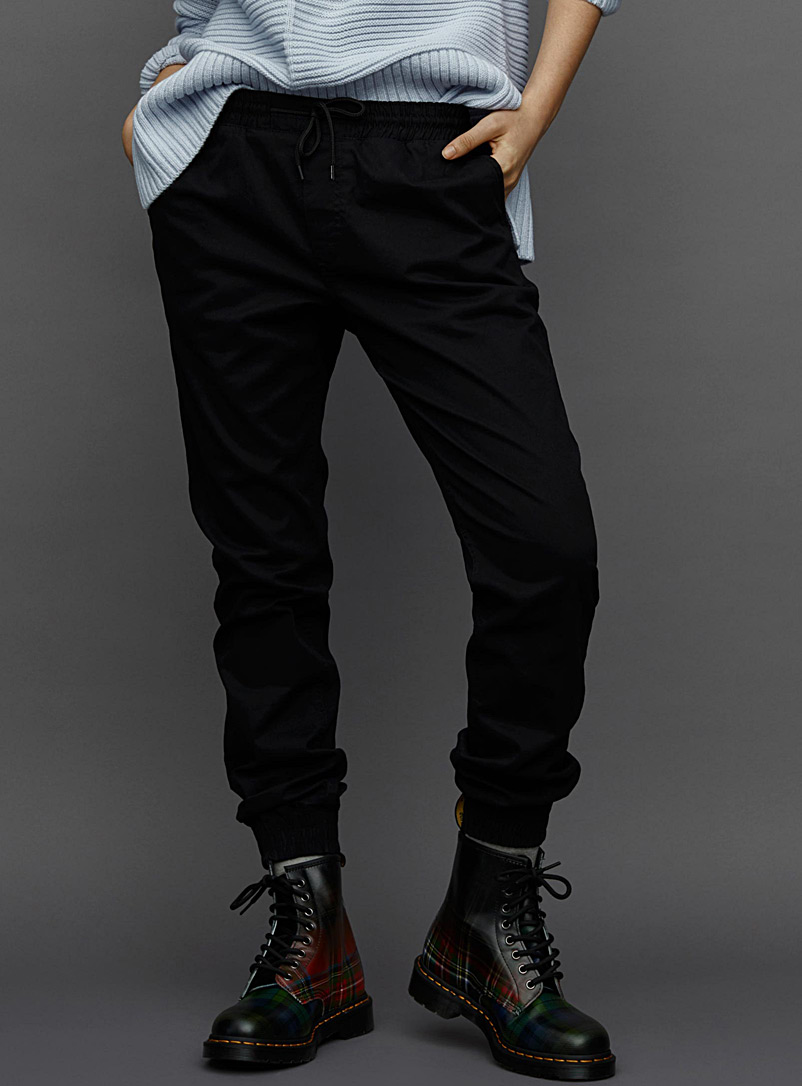 Organic cotton canvas joggers - Joggers - Black