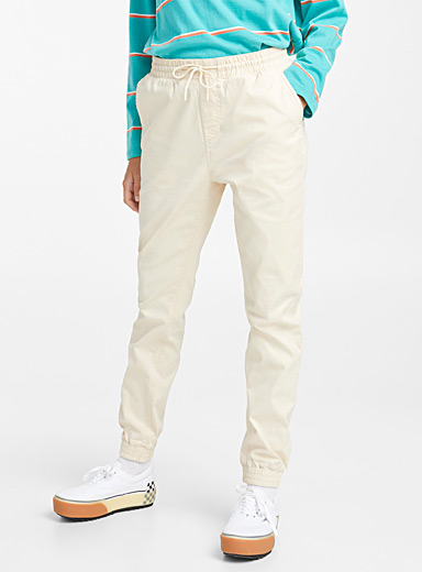 Twik Cream Beige Organic cotton canvas joggers for women