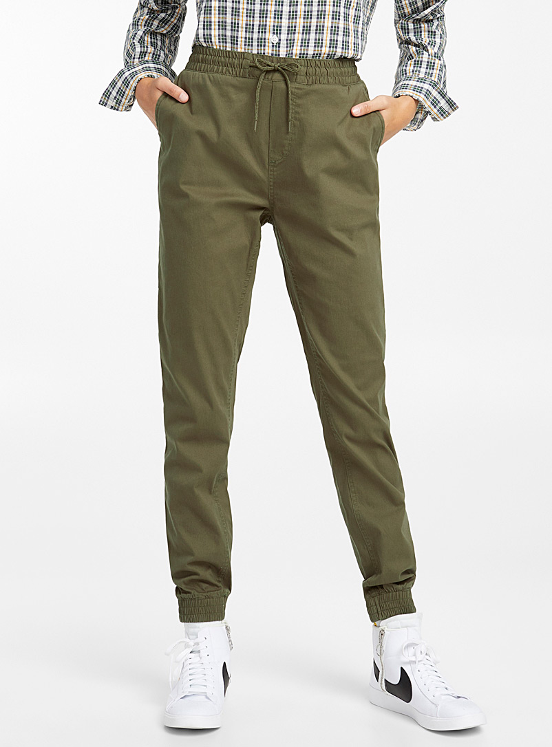 Organic cotton canvas joggers - Joggers - Mossy Green