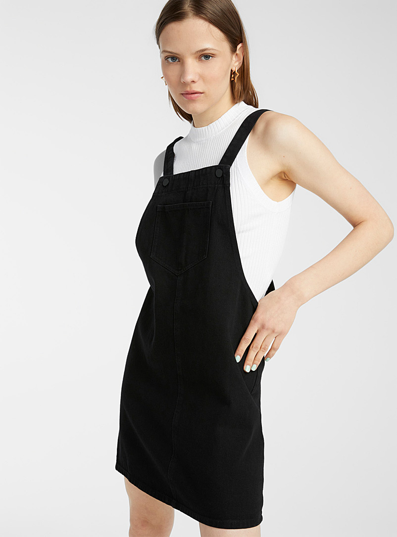 Twik Black Denim apron dress for women