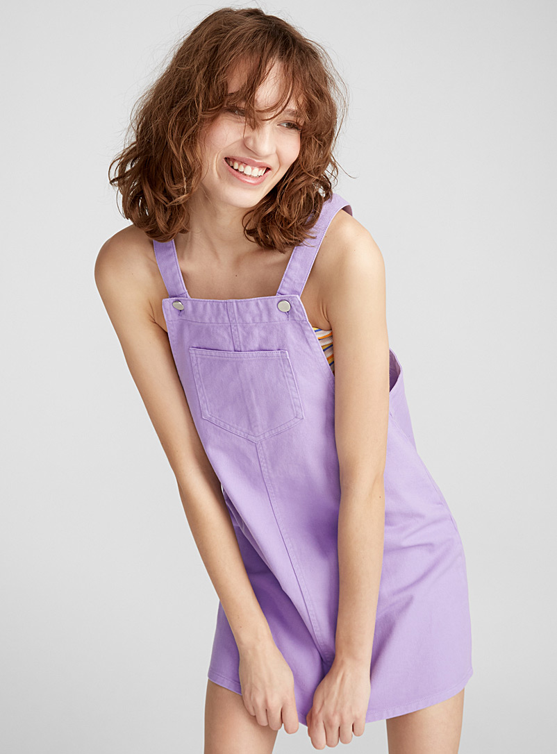 Colourful denim apron dress - Straight - Lilacs