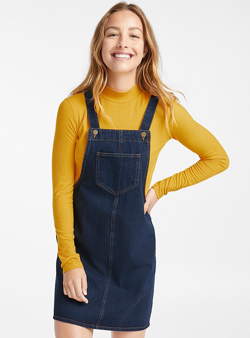 Indigo denim apron dress - Straight - Marine Blue