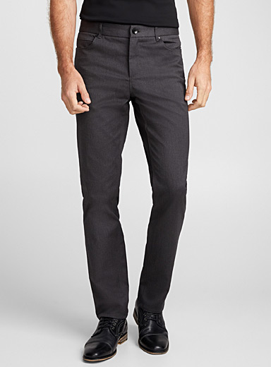 Charcoal herringbone pant  London fit - Slim straight