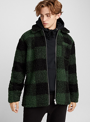 Buffalo-check sherpa jacket