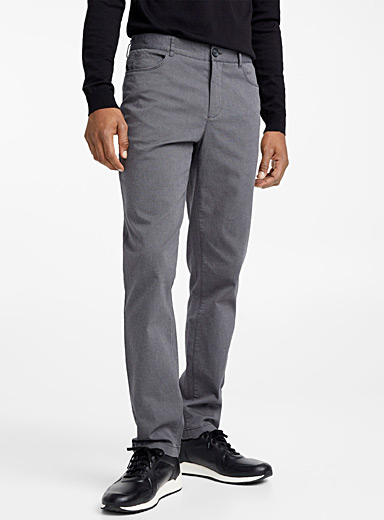 Ash-grey piqué organic cotton pant  London fit-Slim straight