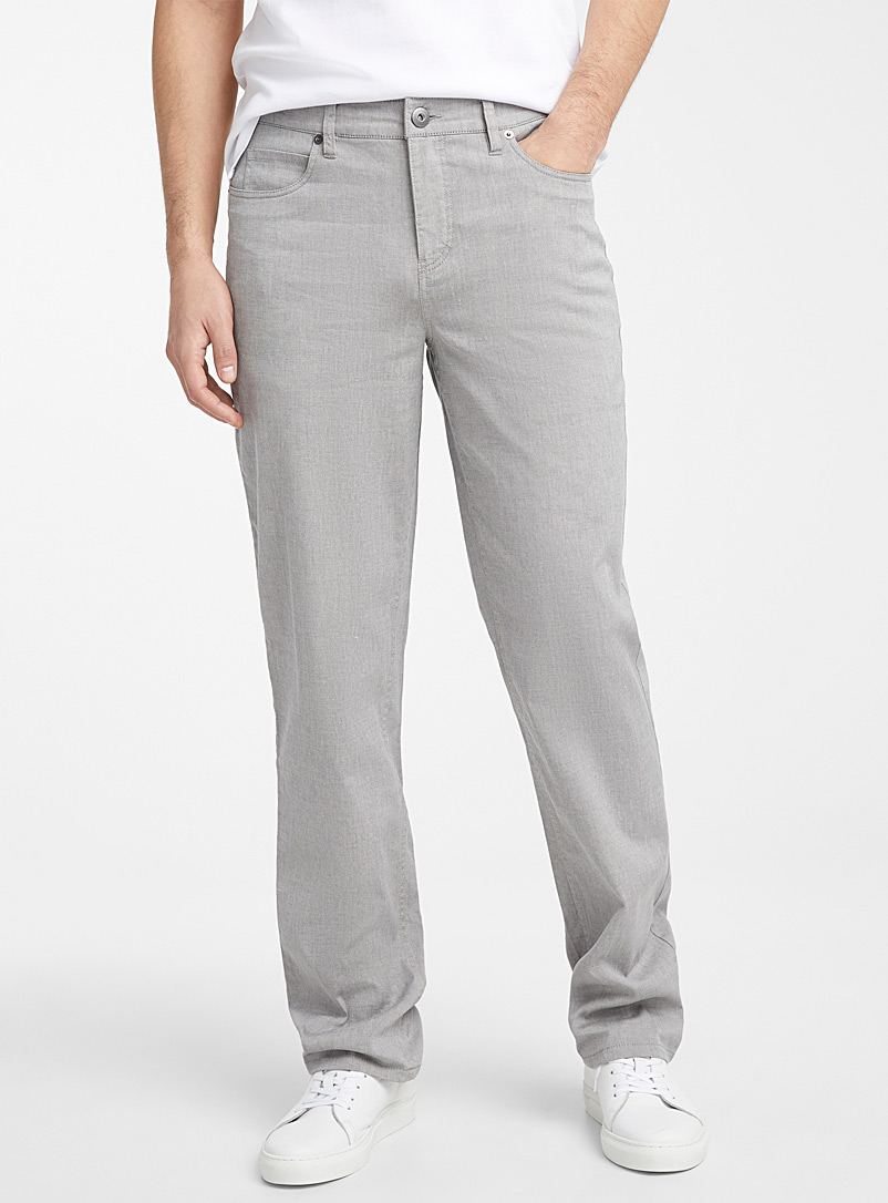 Le 31 Light Grey Organic cotton and linen piqué pant  London fit - Slim straight for men