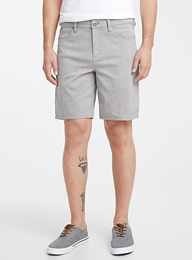 Le 31 Light Grey Linen and organic cotton piqué Bermudas for men