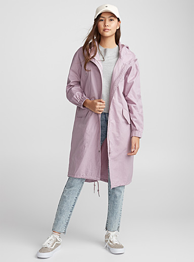 Crinkled cotton long parka