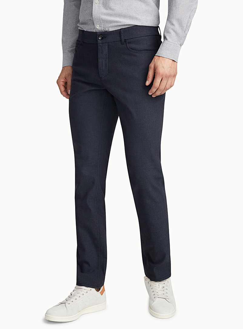 Piqué-textured pant  London fit - Slim straight - Straight slim fit - Blue