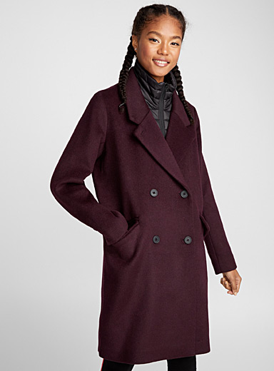 Quilted collar wool coat