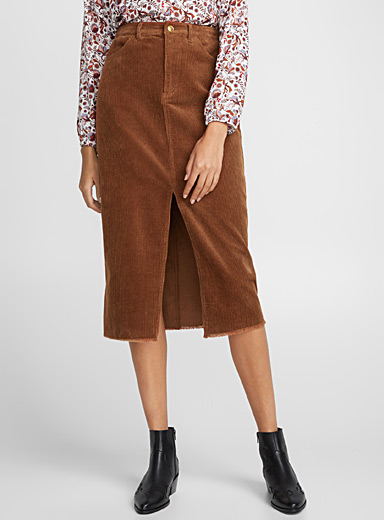 Corduroy high-waist skirt