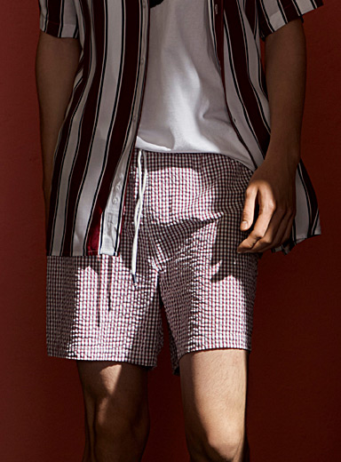 Seersucker gingham swim trunk