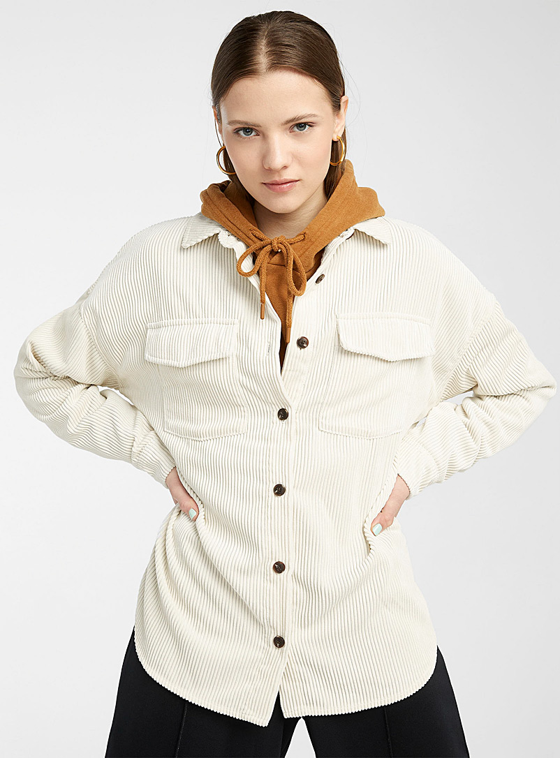 Twik Khaki Loose corduroy shirt for women