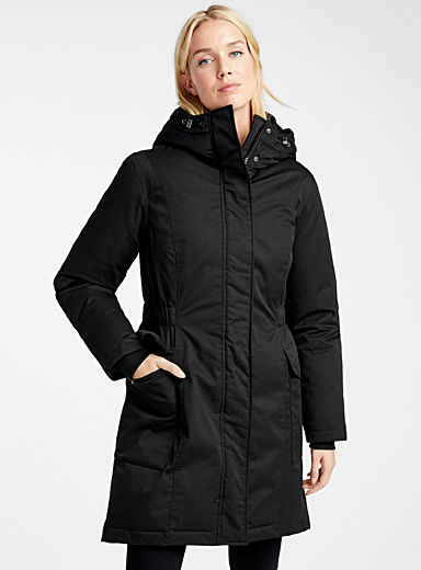 Cinched flap-pocket parka