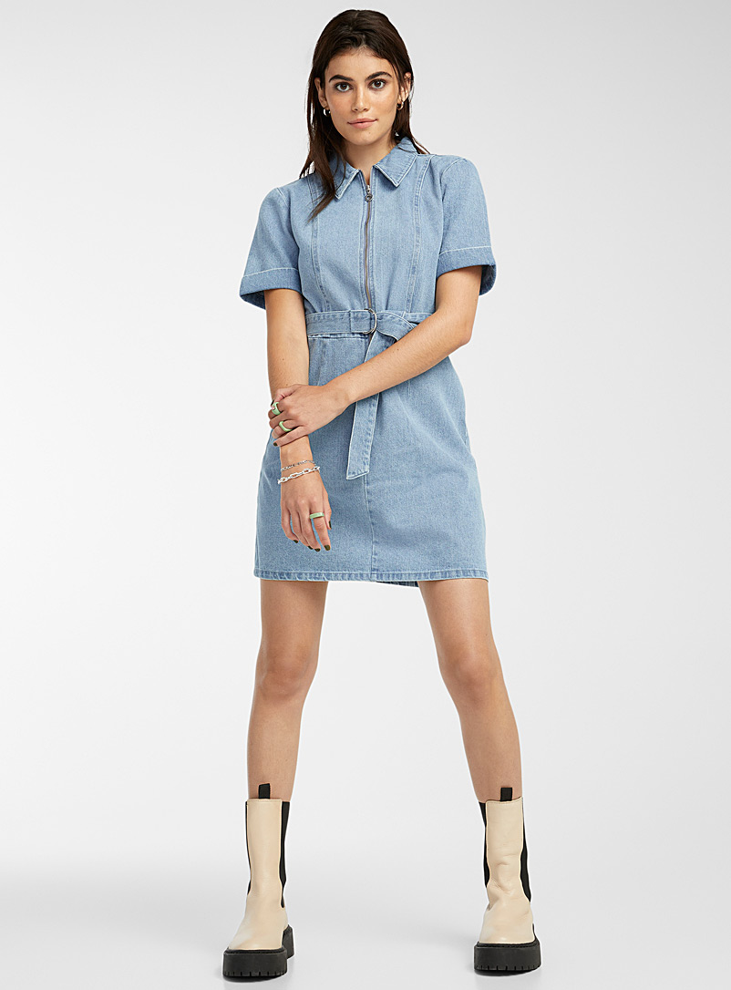 Twik Baby Blue Belted and zipped eco-friendly denim dress for women