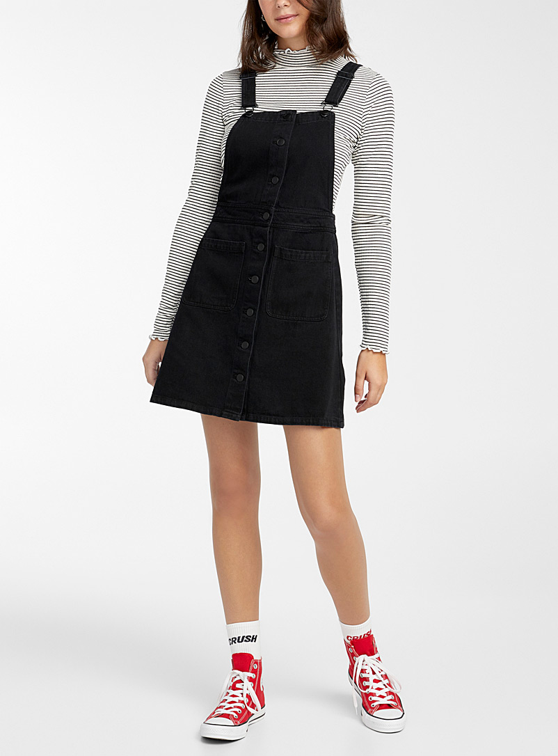 Twik Black Buttoned denim apron dress for women