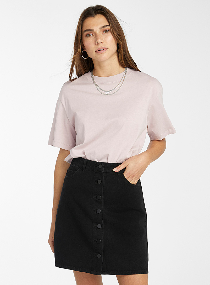 Twik Black Organic cotton buttoned denim skirt for women