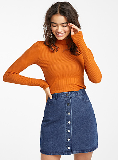 Organic cotton buttoned denim skirt