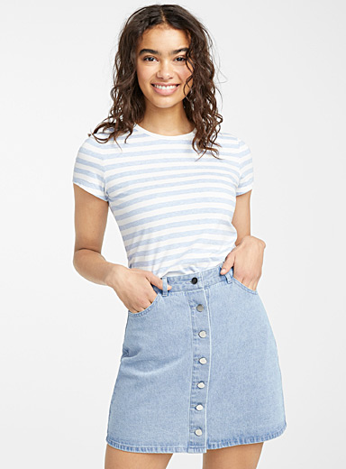 Twik Baby Blue Organic cotton buttoned denim skirt for women