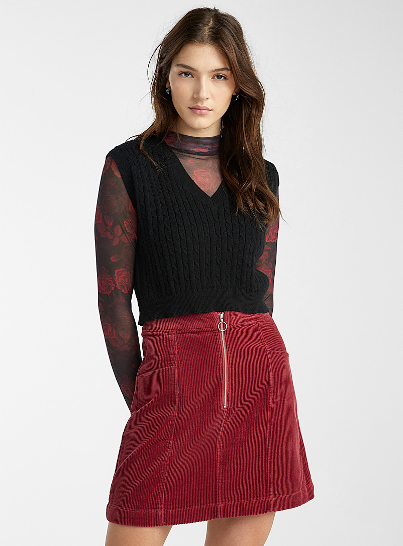 Zipped organic cotton corduroy skirt - Short - Cherry red