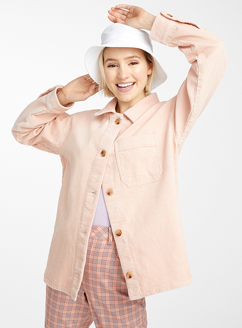 Twik Peach Organic cotton corduroy overshirt for women