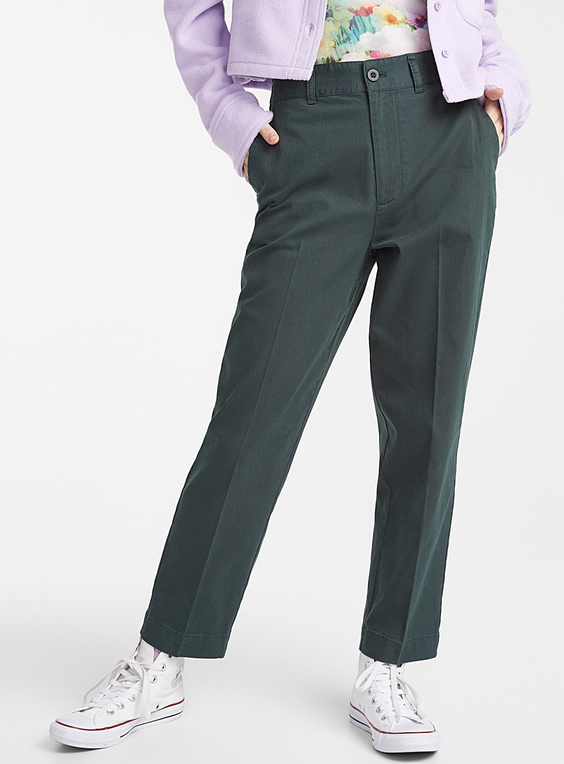 Twik Mossy Green Organic cotton straight pant for women