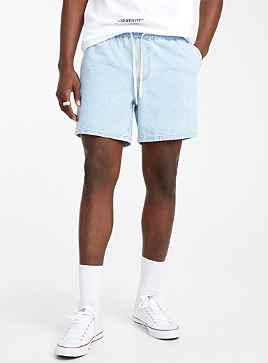 Djab Baby Blue Soft denim pull-on short for men