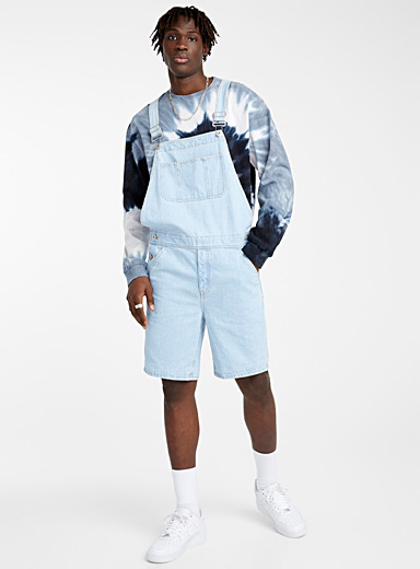 Djab Baby Blue Faded denim short overalls for men