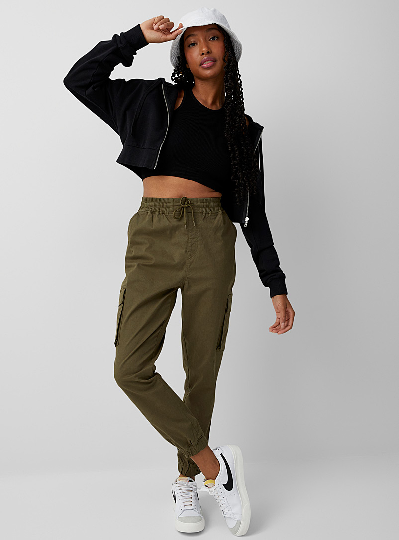 Twik Mossy Green Organic cotton cargo chino joggers for women