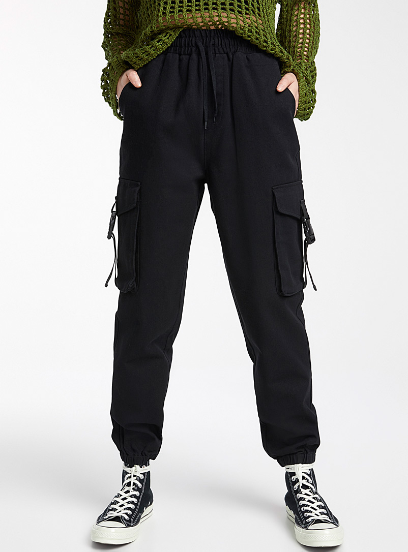 Twik Black Organic cotton clip cargo joggers for women