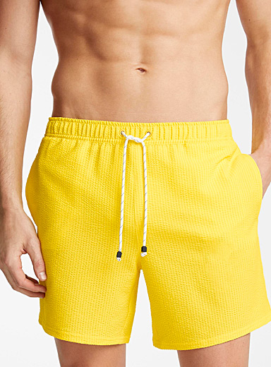 Seersucker stripe stretch swim trunk