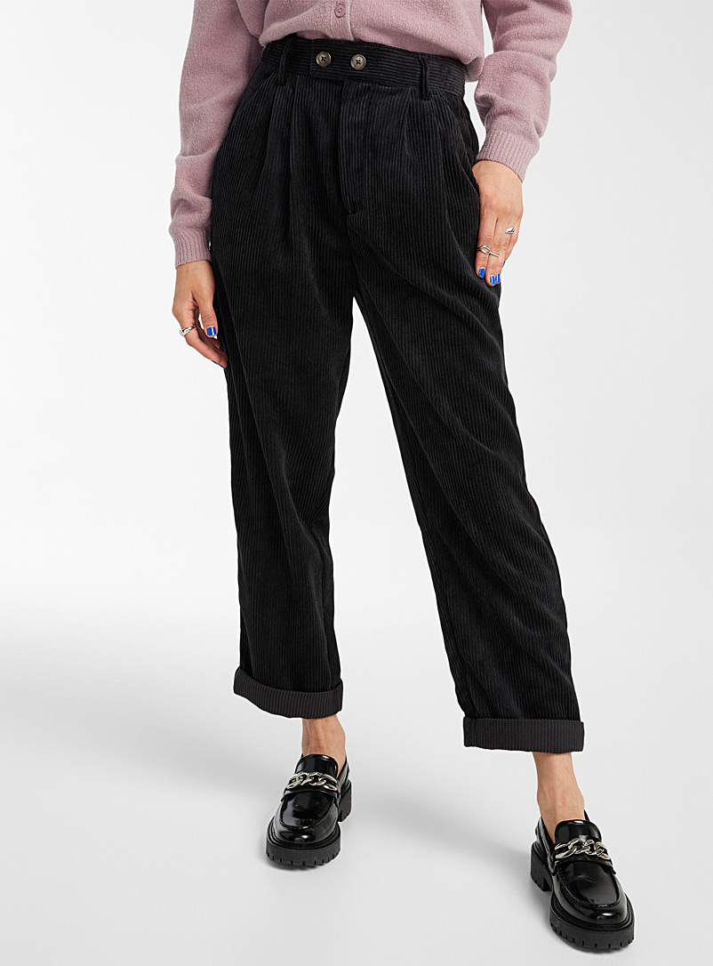 Twik Black Pleated corduroy pant for women