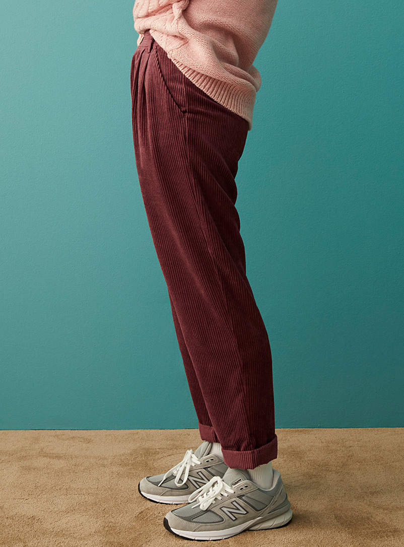 Twik Cherry Red Pleated corduroy pant for women